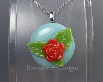 VINTAGE ROSE - Handmade Fused Glass & Stainless Steel Pendant Necklace - Rowanberry SRA  - art painting- RSFP2