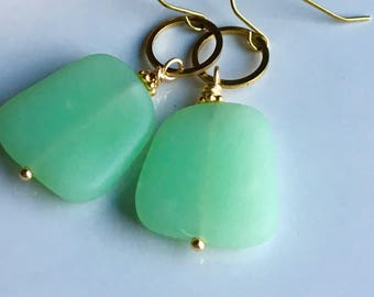 Green Sea Glass Earrings, Dangle Earrings, Brass Hoops, Dangle Earrings, Gold Colored Earrings, Brass Earwires, Summer Earrings