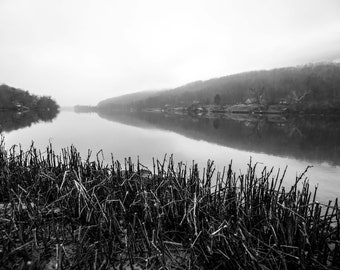 River in Fog Print, Art Print, Nature Photography, Neutral Wall Decor, Foggy River, Black and White Photography, Fine Art Photography Print