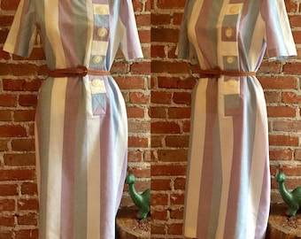 Vintage Vertical Pastel Striped Shirt Day Dress with Oversized Whimsical Buttons