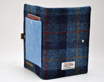 HARRIS TWEED fabric A5 notebook cover - Passport pocket Collection