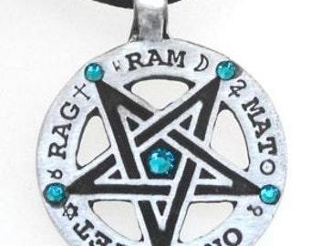 Pewter Inverted Pentagram Tetragrammaton Runes Pendant with Swarovski Crystal Blue Topaz DECEMBER Birthstones (55C)