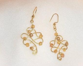 Gold Wire Flourish Earrings