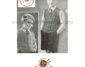 """Boys 1940s V neck sleeveless sweater vest tank top ribbed or cabled 25"""" - 27"""" chest - Vintage PDF Knitting Pattern 515"""
