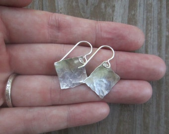 Square Silver Earrings, Hammered Silver Sqare Dangles