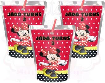 Minnie Mouse Juice Pouch-Minnie Mouse Capri-Sun Label-Minnie Mouse Birthday Party-Minnie Mouse-Digital-Printed-Printable-Juice Pouch