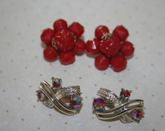 Two 2 Pair of Vintage Earrings Clip On Gold Tone, Red Beaded Cluster, Red Aurora Borealis Rhinestones