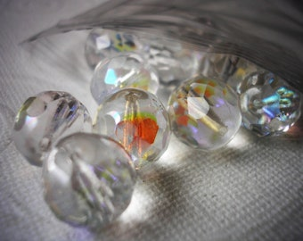 Faceted Beads, Clear Iridescent, Round Beads 10 mm, Center Drilled, Pack of 10 Beads, Swarovski Type, Earring Making, Crystal BeadsSparkling