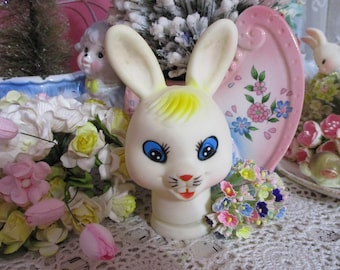 Vintage Bunny-Rabbit-Rubber Doll Head-Doll-Vintage-Old Stock-Easter-Japan