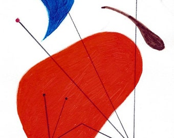 Handpainted Original Art - Mid Century Modern Atomic Art / Amoeba and Antenna / Vibrant Orange and Blue