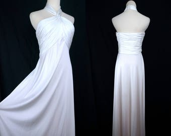 Estevez Wedding Dress Disco Gown White Ruched 1970s Wide Sweep Backless Halter Neck Medium