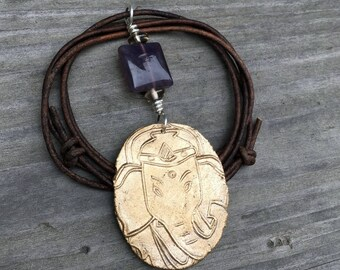 Ganesha Pendant Handmade Bronze and Amethyst with Sterling Silver on Adjustable Leather Cord