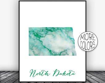 North Dakota Art North Dakota Print North Dakota Map Art Map Print  Marble Decor Office Decor Office Poster ArtPrintsZoe
