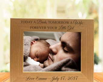 Today A Bride, Tomorrow A Wife, Forever Your Little Girl Photo Frame-Christmas Gift-Gift for Mom-Gift for Her-Custom Name Frame-Personalized