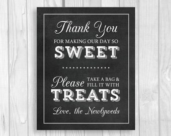 SALE Black White Chalkboard Wedding Candy Buffet Sign 5x7, 8x10 Printable, Thank You For Making Our Day So Sweet Please Fill Bag With Treats