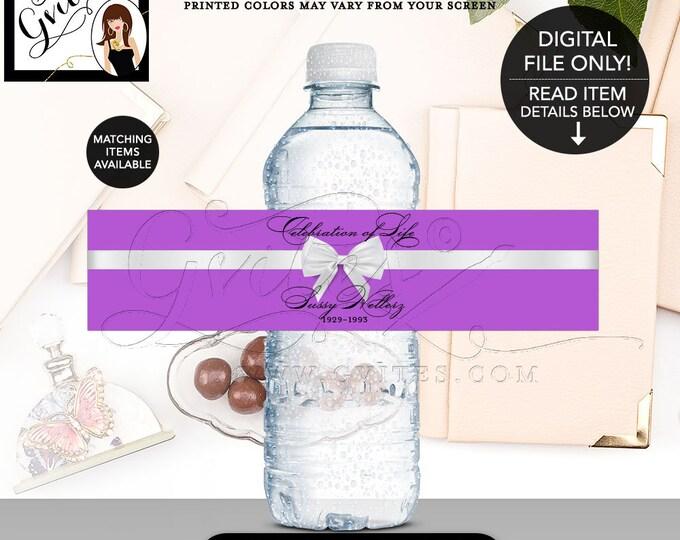 "Celebration of Life Favors, Water Bottle Labels, In loving memory, Printable, Digital File, Purple and White, DIY, 8x2""/5 Per Sheet"