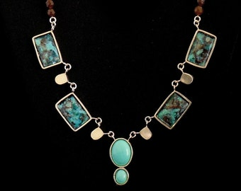 Statement Necklace - Enamel on Copper and Gemstone