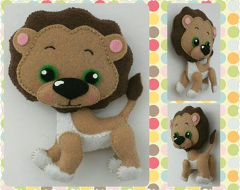 Jungle Baby Animals, Lion, Jaguar, Tiger, Giraffe, Zebra, Felt Animals, Standing Hanging Felt Animal Figurines, Home Decor
