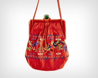 20s Purse // 1920s Embroidered Chinese Silk Bag // Antique Reticule / Vintage Handbag