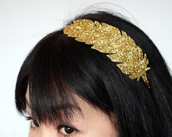 Golden Feather Headband, Goddess Headband, Gold Glitter, Other Colours Available