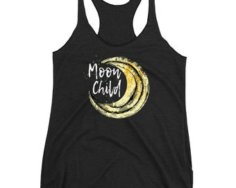 Moon Child Racerback Tank Wiccan Clothing Wicca Pagan Shirts Free Wandering Spirits Moon Goddess Tanks Witchcraft Witch Moon Stars Tank