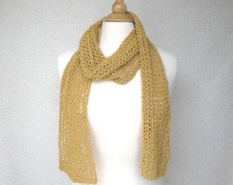 Mesh Lace Scarf, Gold Glitter, Hand Knit Cotton, Sparkly Metallic Scarf, High Fashion, Mustard Yellow