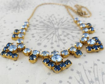 Diamante Necklace, Wedding Necklace, Something Old Blue, Rhinestone Necklace, Gift for Women, Mother's Day Gift, Wedding Jewelry