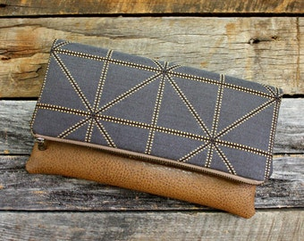 Classy Geometric Dark Gray Foldover Clutch / Kindle Case / Sleek and Stylish