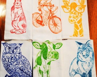 Cloth Dinner Napkins - Screen Printed Cotton Cloth Napkins Set of Six - Washable and Reusable Eco Friendly