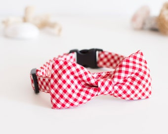 PupNic  - Gingham Dog Collar with Bow Tie, Red PicNic dog collar,