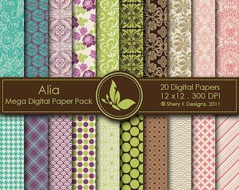 Alia Mega Paper Pack - 20 Printable Digital Scrapbooking papers - 12 x12 - 300 DPI
