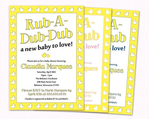 Baby Shower Invitation Printable Duck Themed Rub A Dub