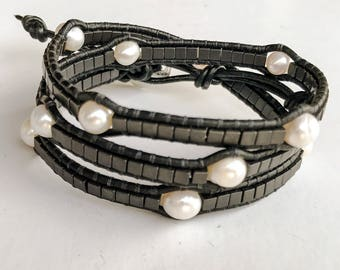 Leather wrap bracelet with freshwater pearls and hematite