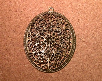 2 print pendant connectors oriental pattern - 64 x 47 mm - metal filigree end - bronze PF87
