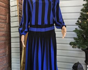 Vintage 80's Black & Blue Striped Avant Garde Dress