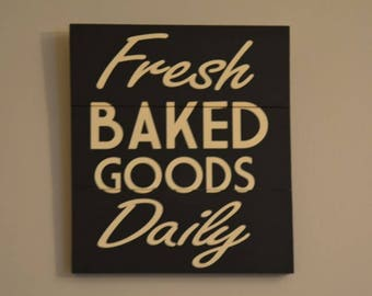 Kitchen Decorations Fresh Baked Goods Daily Sign hand painted vintage wooden signs kitchen decor retro kitchen sign