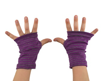 Baby/Toddler/Kids Arm Warmers in Purple and Grey Stripes - Fingerless Gloves - 3 sizes available