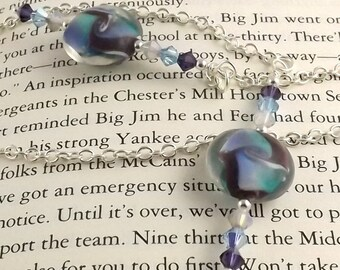 Charlotte Lampwork Glass Swarovski Crystal and Chain Bookmark aka Book Thong a perfect addition to your library