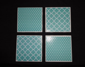 Turquoise and White Print Coasters