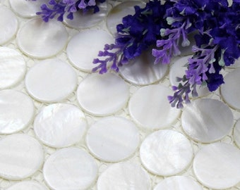 Penny Round White Mother of pearl shell mosaic backsplash tile MOP051 mother of pearl bathroom wall  tiles