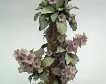 "Rare 12"" Tall  Savastano Capodimonti Floral Tower"