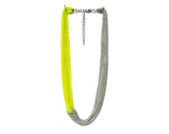 Multi Strand Chain Necklace - Neon Yellow
