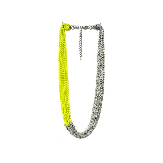 Multi Strand Chain Necklace - Neon Yellow