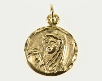 14k Round Mother Mary Baby Jesus Christian Charm/Pendant Gold
