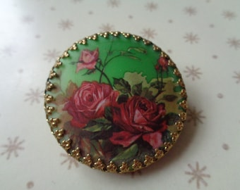 Vintage stunning Mid Century Rose design scarf ring with hinged back. Costume  Jewellery