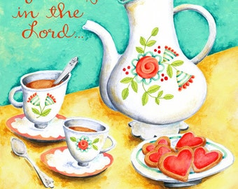 Delight Yourself in the Lord Tea Time 8x10 Hand Lettered Christian Scripture Inspirational Art Print Acrylic Painting
