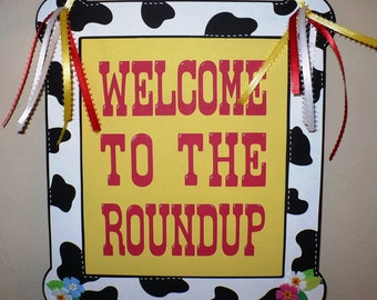 Toy Story Jessie Woody Birthday Welcome Western Birthday Party Sign Cowboy Cowgirl Party Decoration
