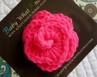 Pink Flower Hair Clip, Baby Crochet Flower Hair Clip, Crochet Flower