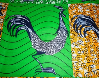 Vlisco Wax Print with a Fun Rooster Pattern, by the Half Yard