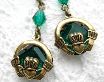 Green Claddagh Glass Earrings- Antiqued Brass Earrings- Morning Glory Designs